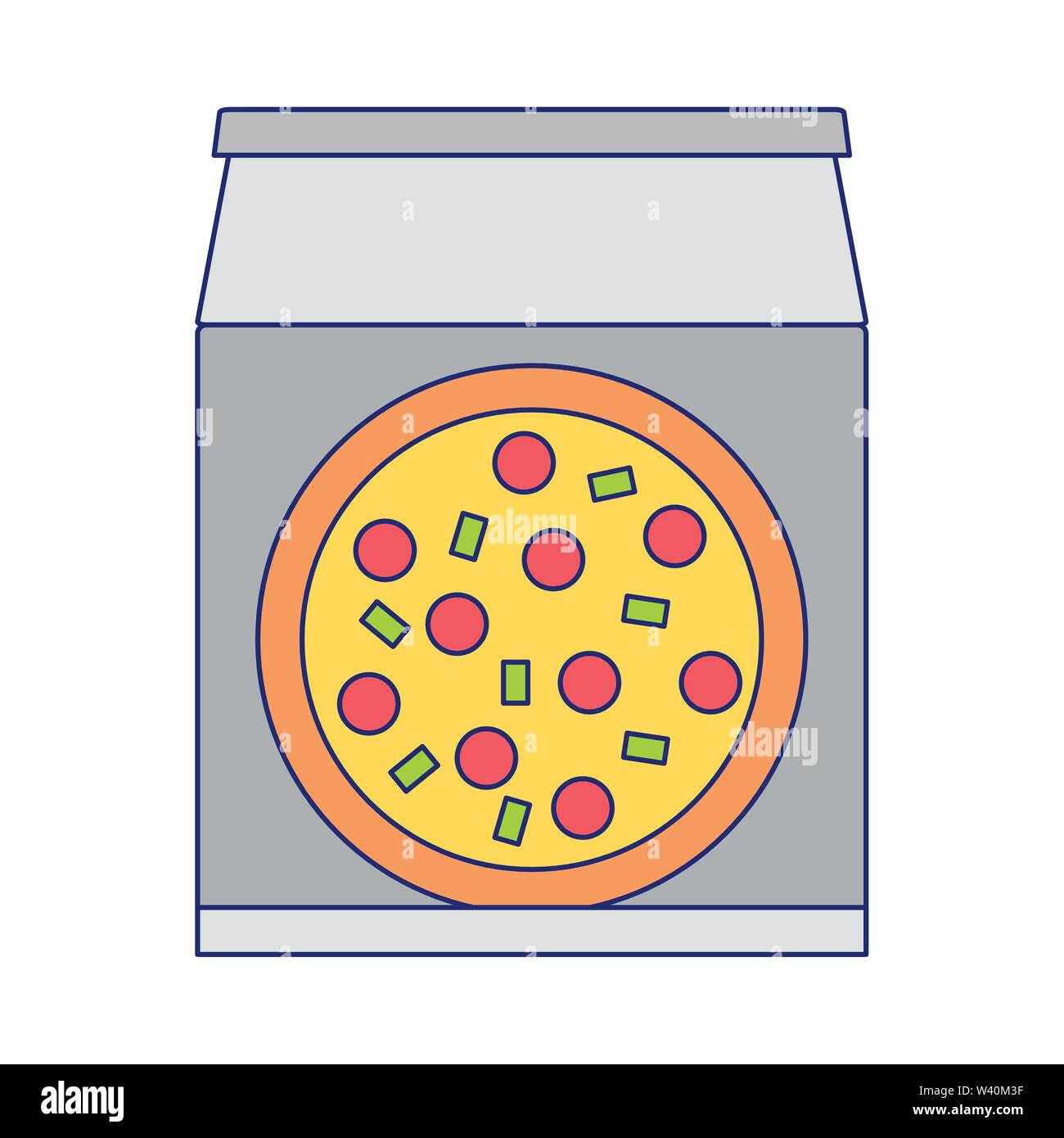 Fast Food Delivery pizza box Symbol blaue Linien Stockbild
