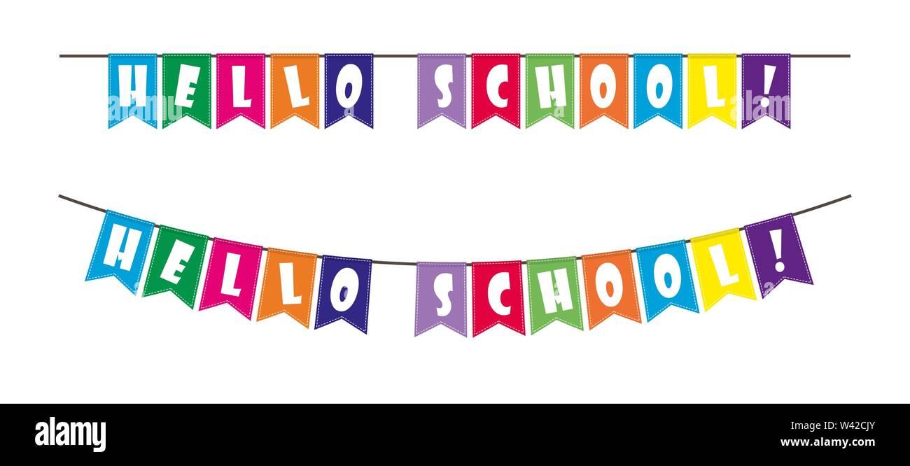 Satz von bunten Fahnen mit der Aufschrift Hallo Schule an einem Seil aufgehängt. Stockbild