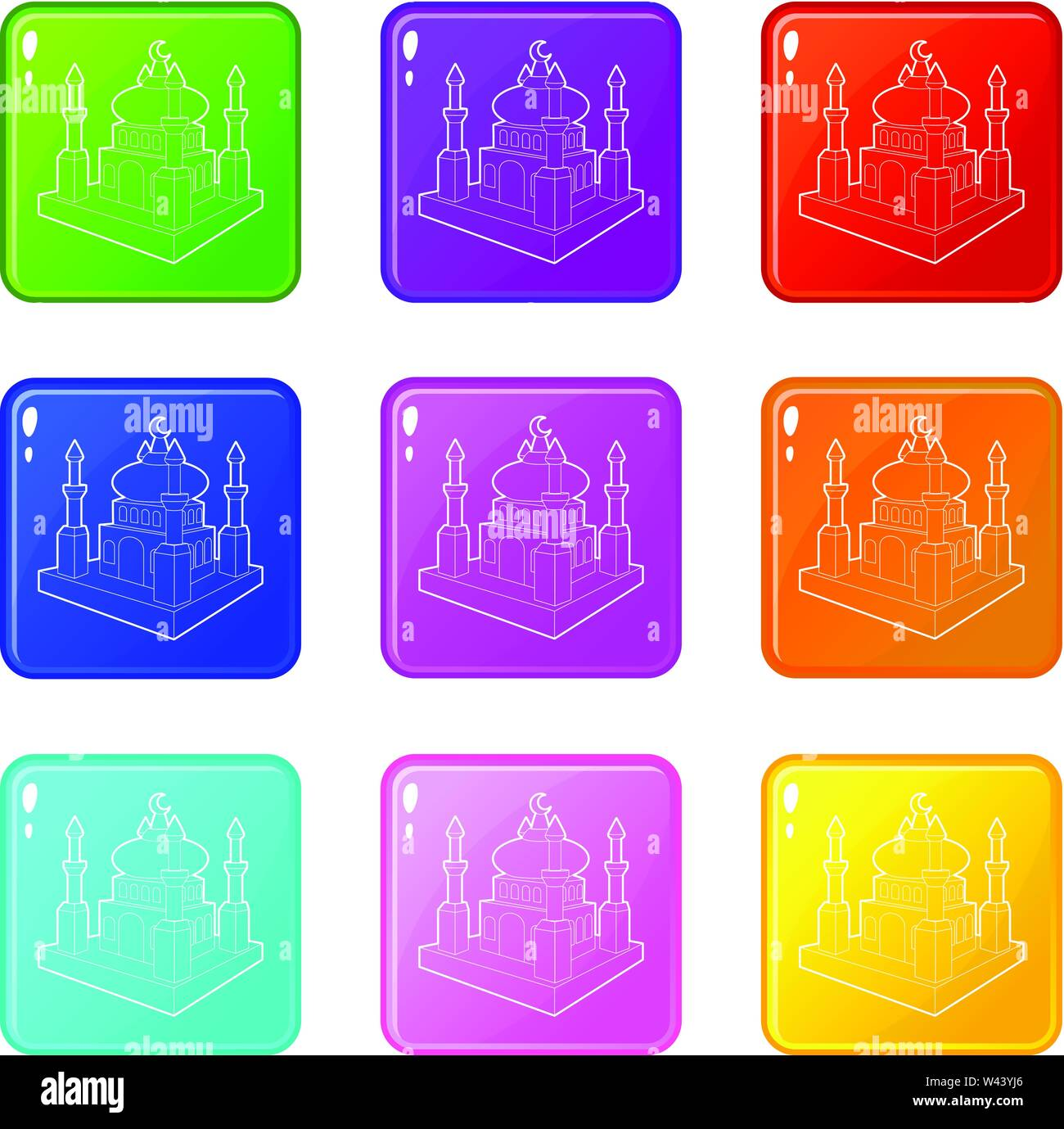 Arabische Stadt Icons Set 9 Colour Collection Stockbild