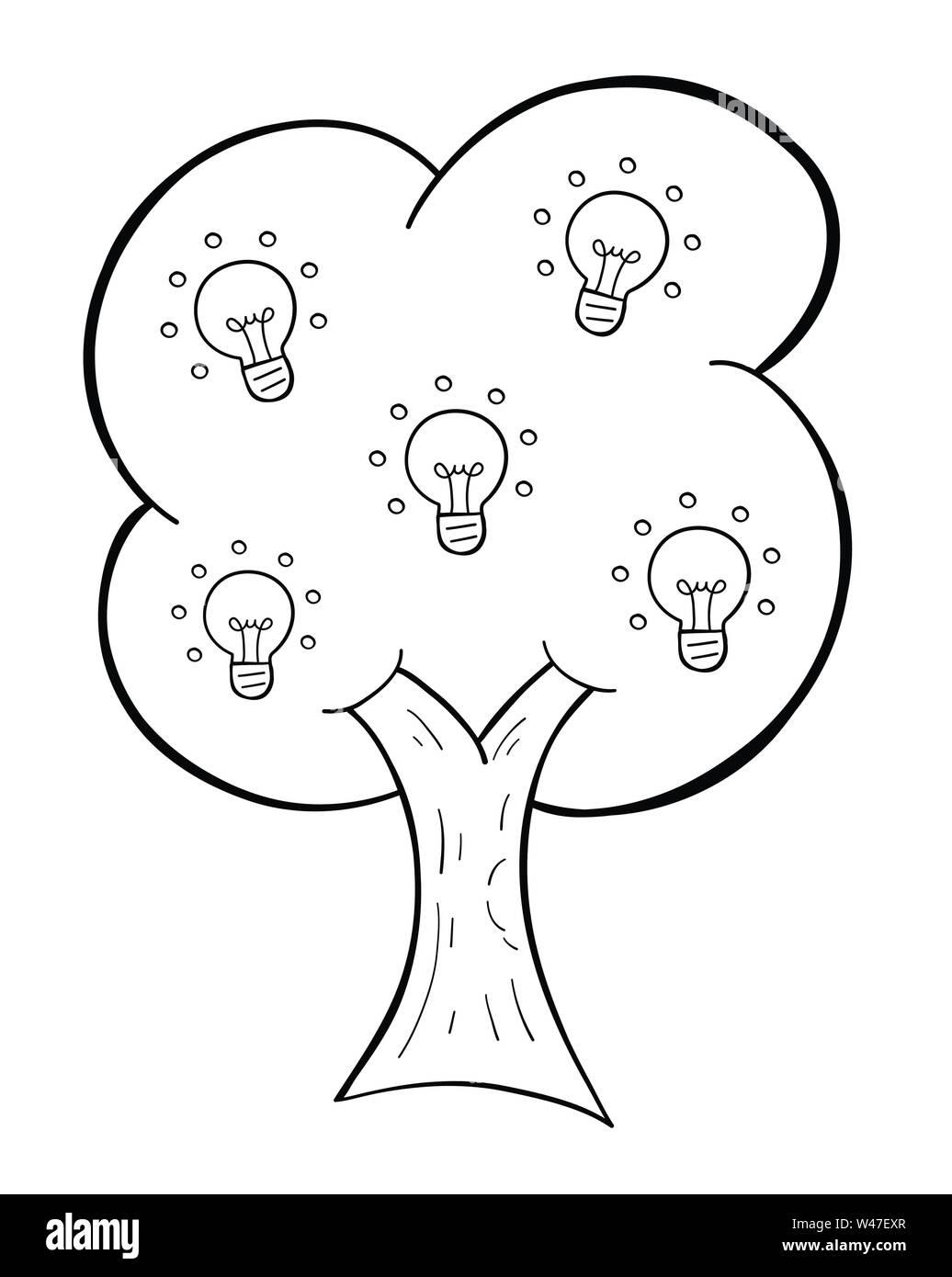 Vektor handgezeichnete Abbildung: leuchtende Glühbirne Idee Baum. Schwarzen umrissen und weißen Hintergrund. Stock Vektor