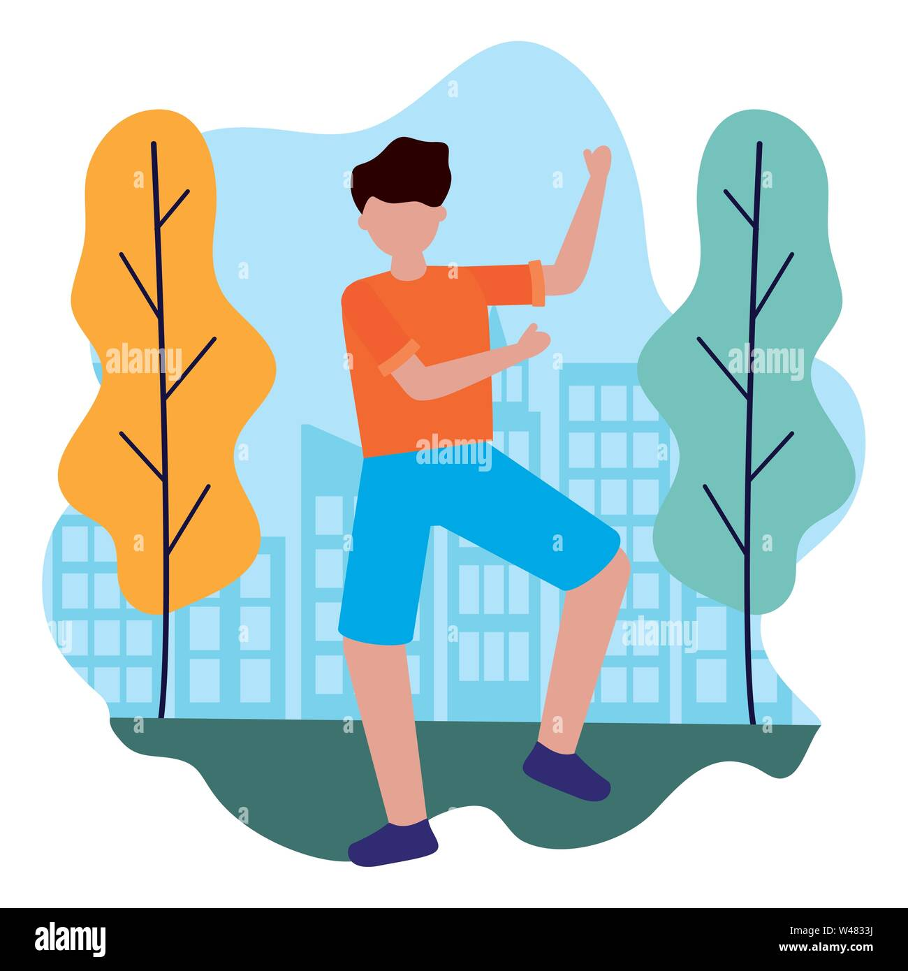 Feiert man Zeichen in der City Park Vector Illustration Stockbild