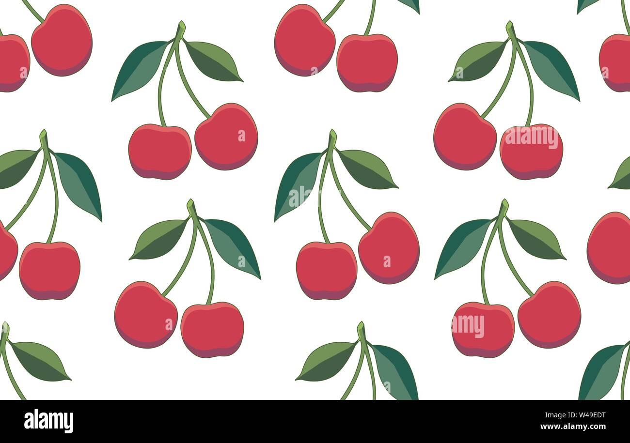 Kirsche. Vektor nahtlose Muster mit zwei isolierten Kirschen auf einem weißen Hintergrund wiederholt. Endlose Textur. Positive Dekoration für Cafe, Bar, Obst Stock Vektor