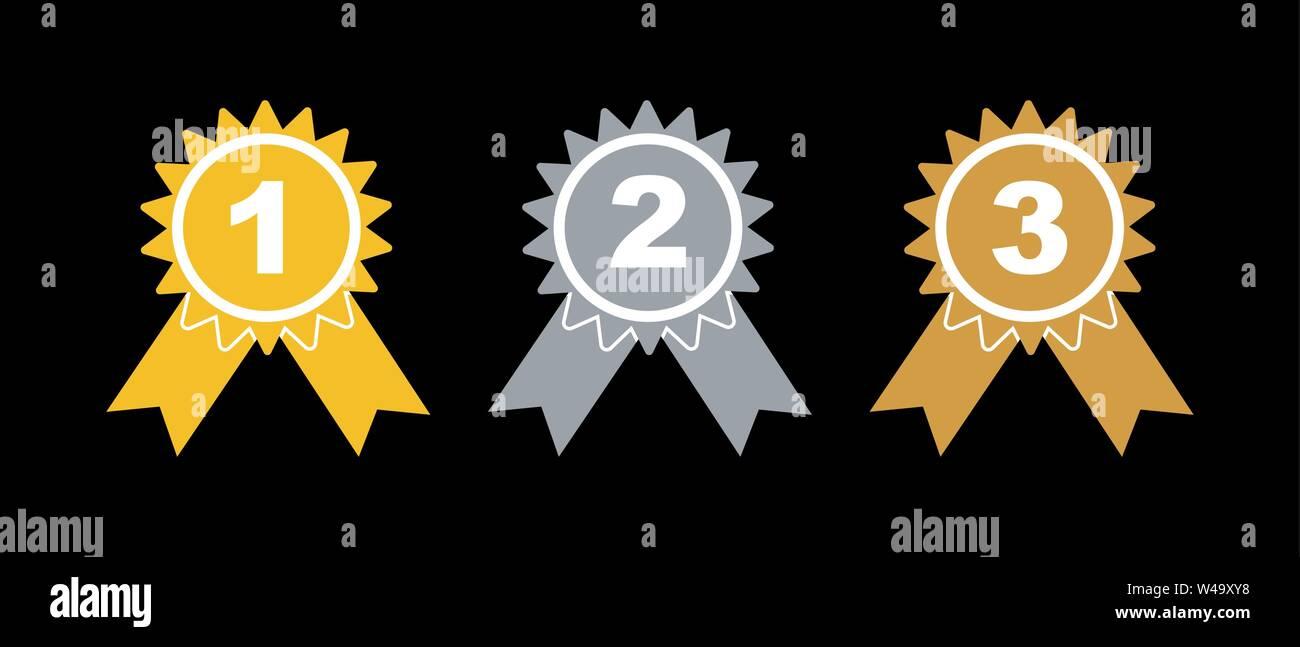 Preis auszeichnungen. Gold-, Silber- und Bronzemedaillen, einfache flache Bauform. Stockbild