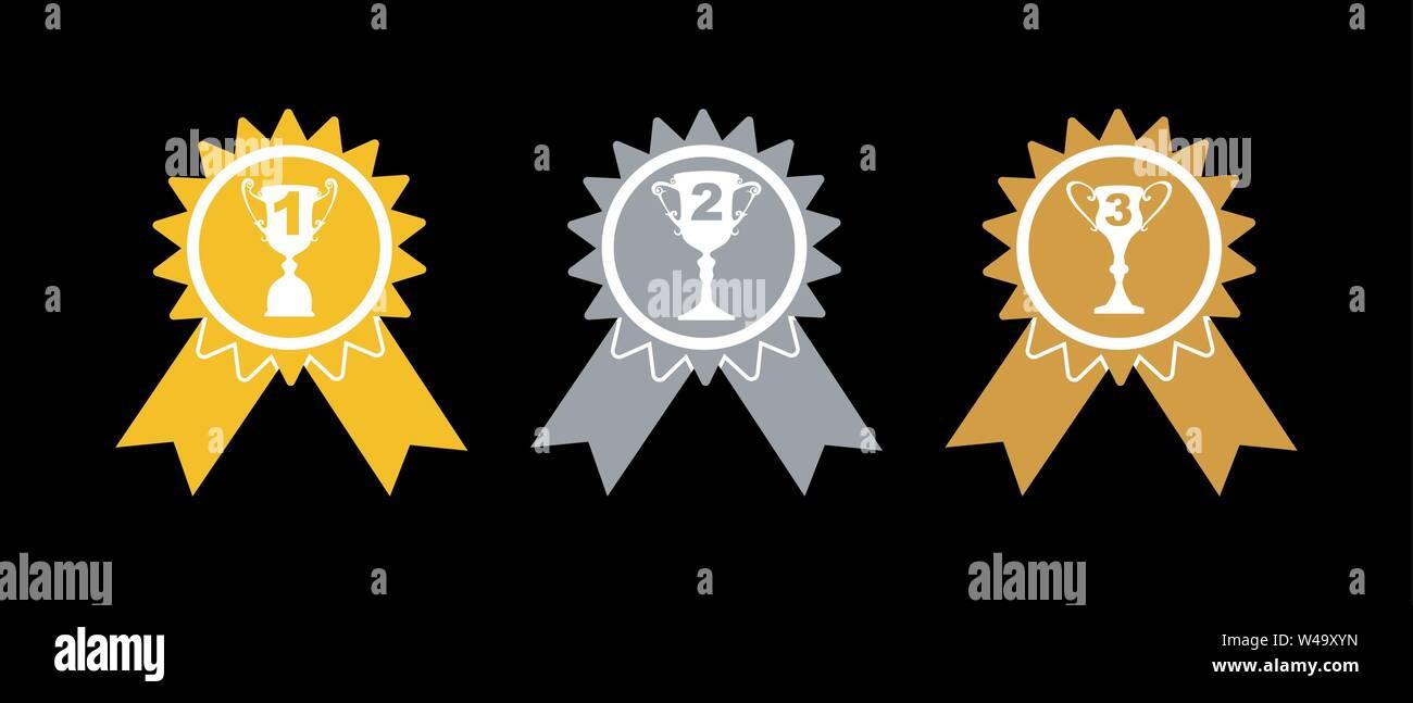 Preis auszeichnungen. Gold-, Silber- und Bronzemedaillen mit Tassen, einfachen flachen Design. Stockbild