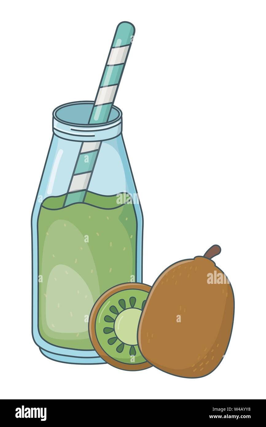 Köstlich gesunde Mahlzeit Saft mit Früchte Mix cartoon Vector Illustration graphic design Stockbild