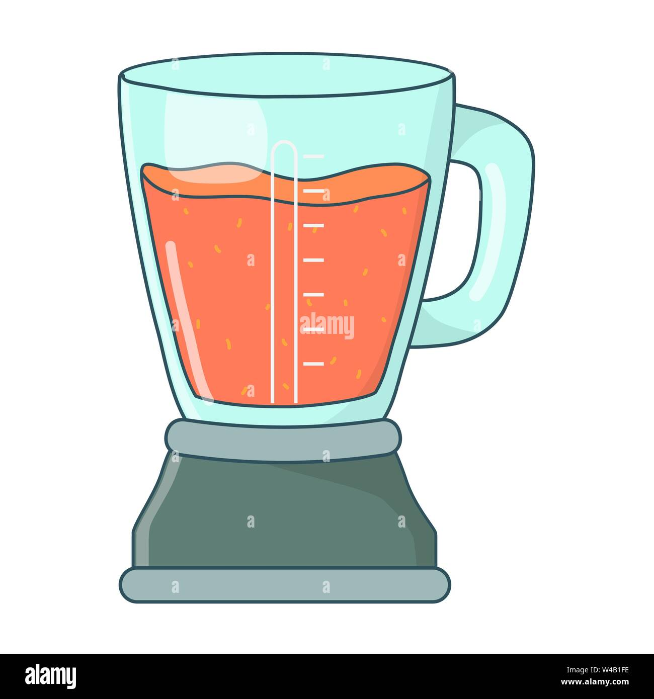 Leckere, gesunde Früchte orange Smoothie in Blender cartoon Vector Illustration graphic design Stockbild