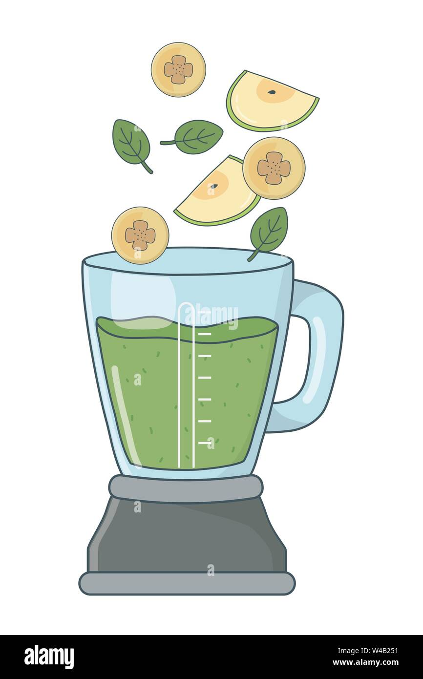 Köstlich gesunde Früchte mix Smoothie in Blender cartoon Vector Illustration graphic design Stockbild