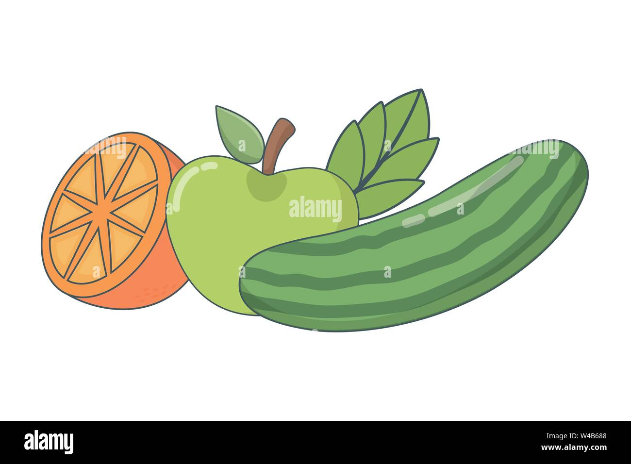 Köstlich gesunde Mahlzeit Obst mix cartoon Vector Illustration graphic design Stockbild