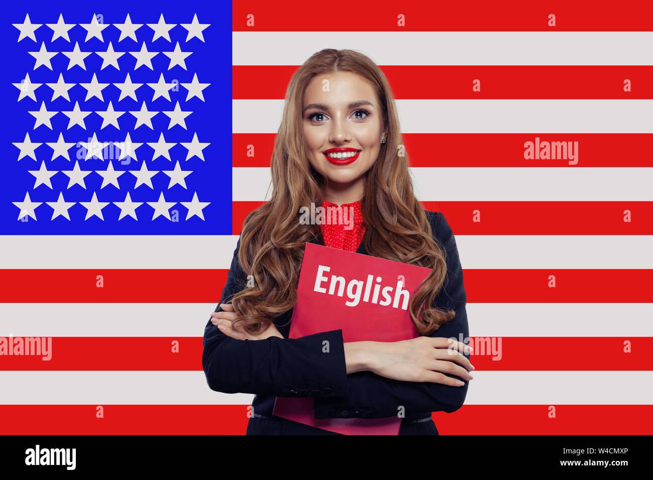 Hubsche Studentin Und Lachelnd Buch Gegen Die Vereinigten Staaten