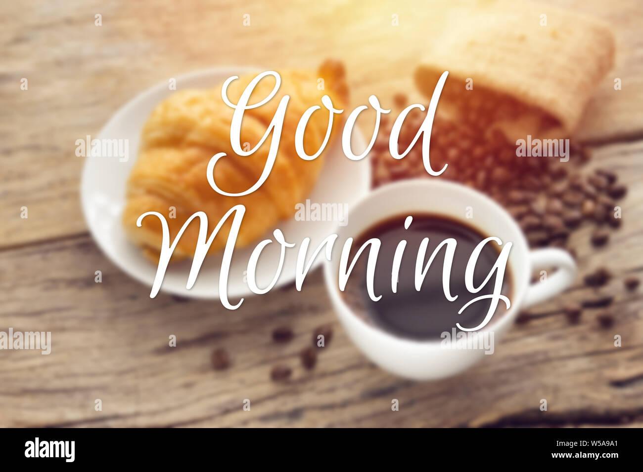 Text Guten Morgen Mit Verschwommenen Kontinentales Frühstück