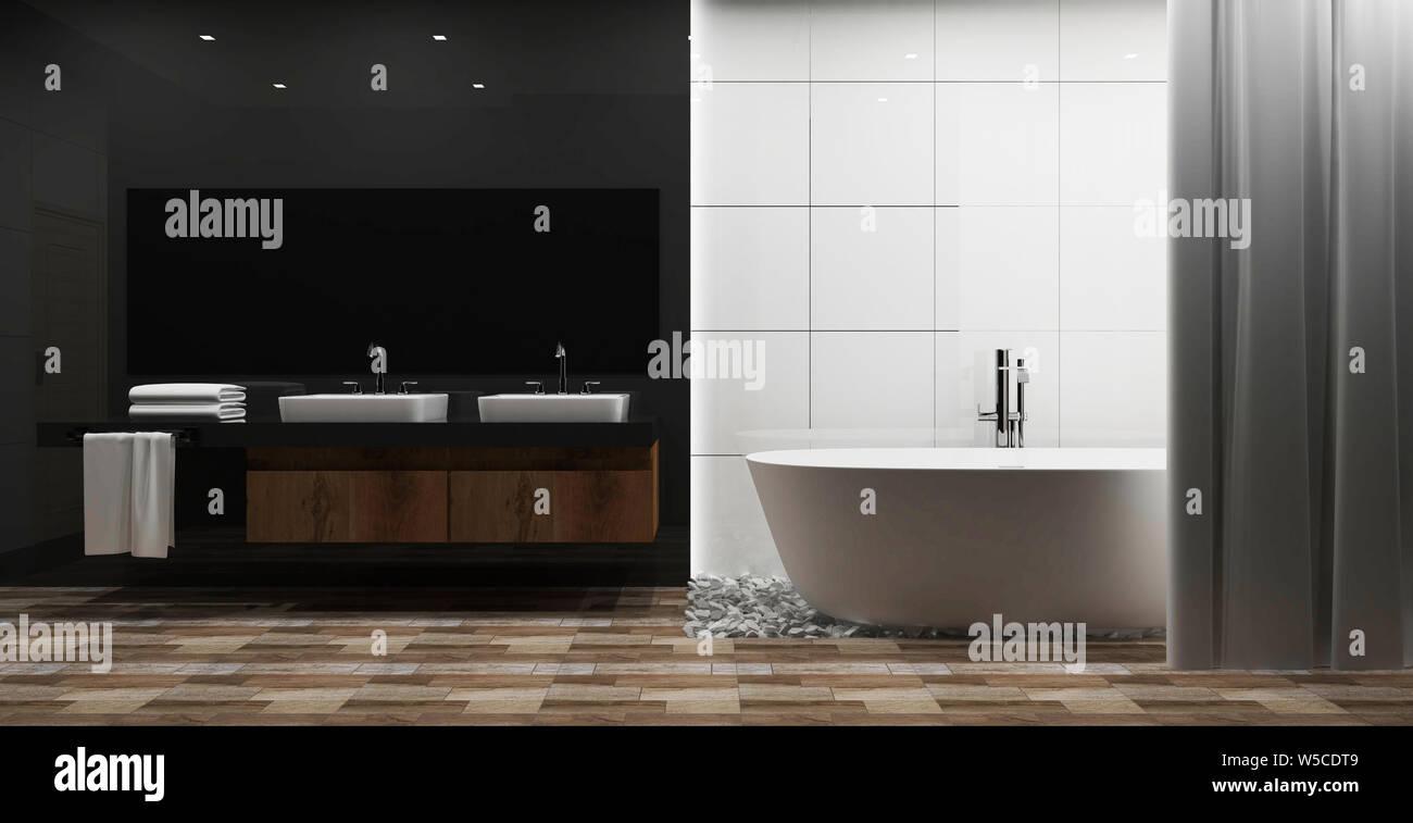 Weiße Fliesen und grau glänzende Wand Badezimmer Einrichtung ...