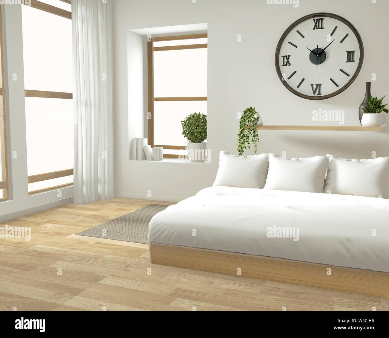 Home Interior Wall Mock Up Mit Bett Aus Holz Vorhangen Und Dekoration Im Japanischen Stil In Zen Schlafzimmer Minimalem Design 3d Rendering Stockfotografie Alamy