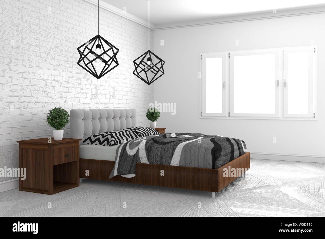 Schone Schlafzimmer In Der Modernen Innenarchitektur Auf Weissem Boden Und Weisse Wand Im Hintergrund Leeren Raum 3d Rendering Stockfotografie Alamy