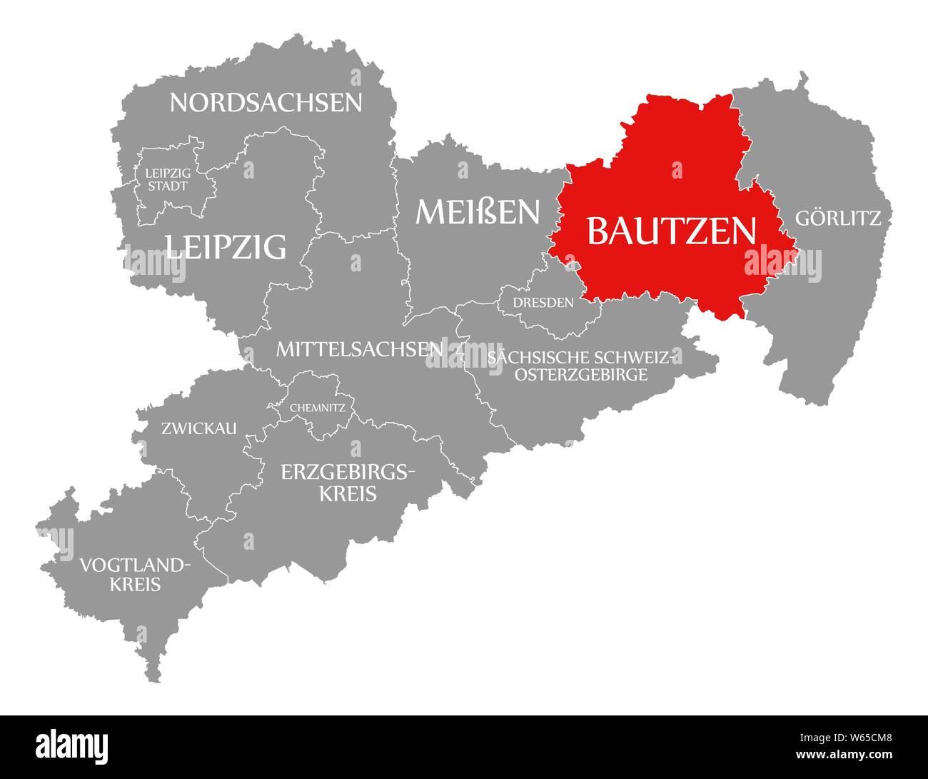 Bautzen In Rot Hervorgehoben Karte Von Sachsen Deutschland De
