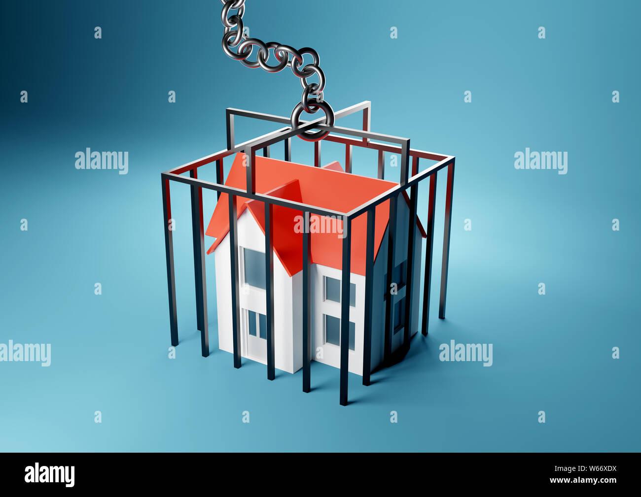 Ein Haus in einem eingesperrten Gefängnis gefangen. Hypothek, Hauseigentümer gefangen Konzept. 3D-Render Abbildung. Stockfoto