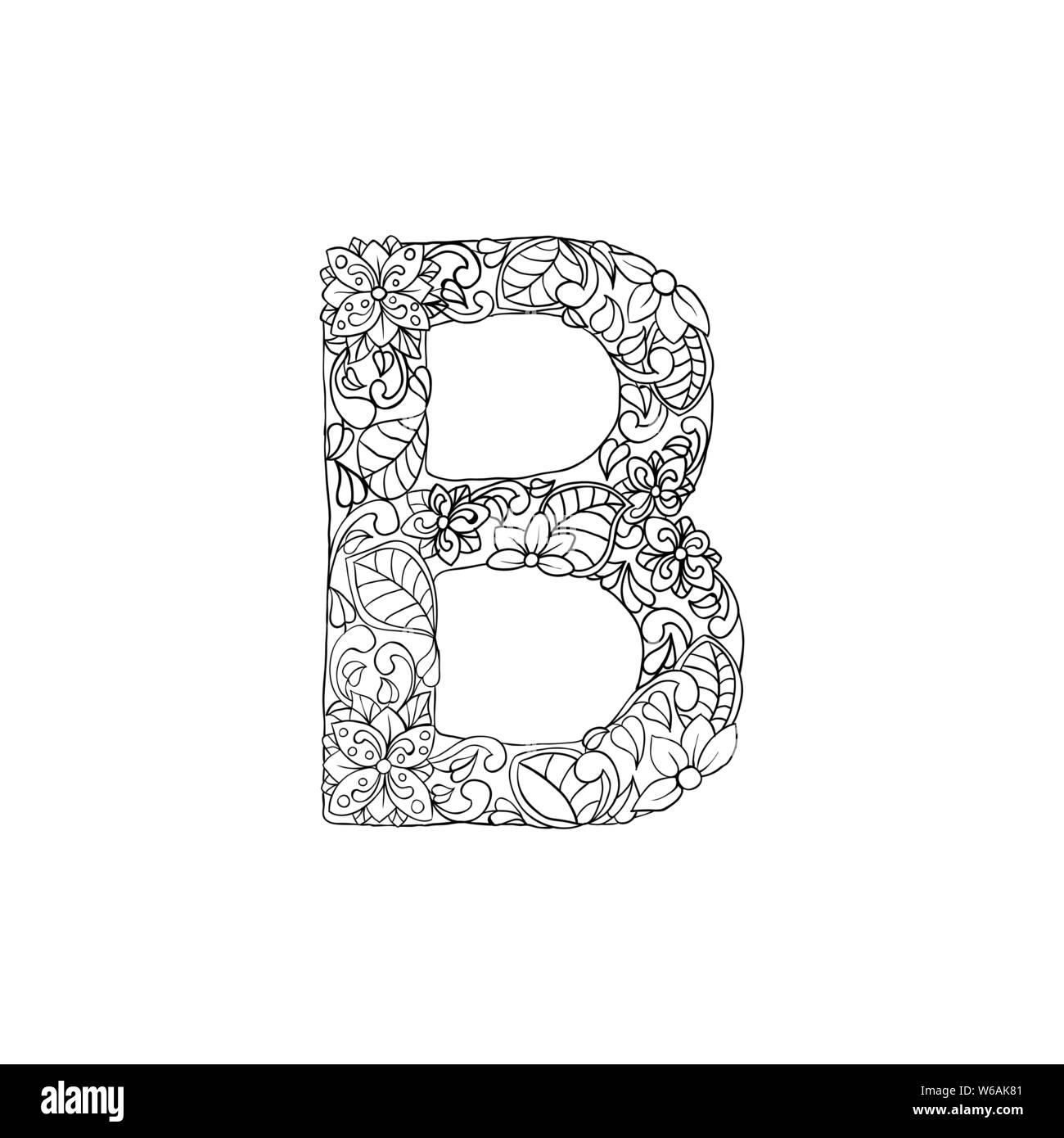 Malvorlagen Blumen Zierpflanzen Alphabet, Anfangsbuchstabe B Font. Vektor Typografie Symbol. Antistress Seite für Erwachsene und Monogramme. Isolierte Poster oder Cover Design Stock Vektor