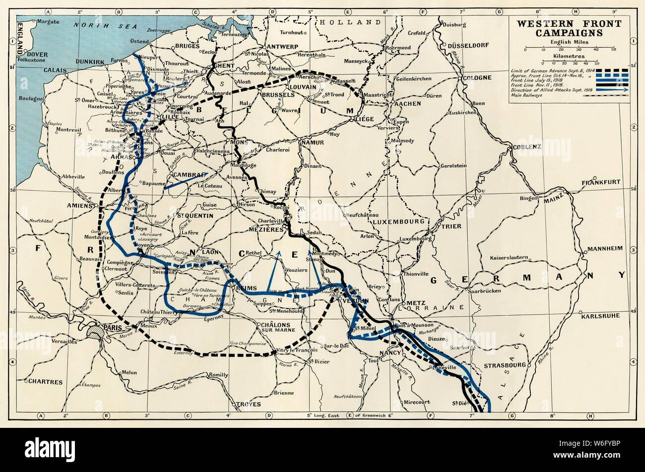 Westfront 1 Weltkrieg Karte.Westfront Im Ersten Weltkrieg Stockfotos Westfront Im