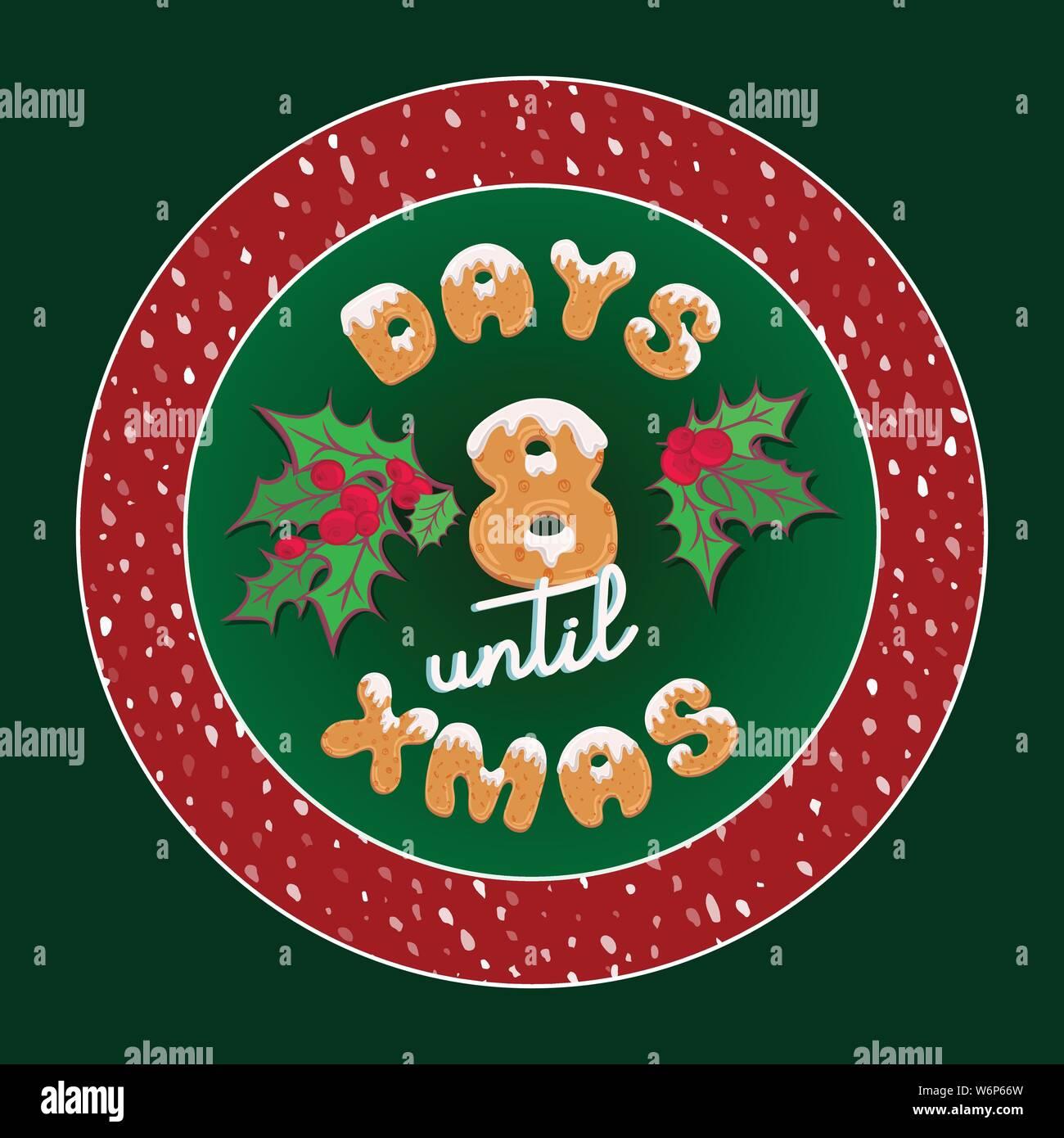 Tage Bis Weihnachten.Cute Retro Urlaub Weihnachtskarte Vintage Adventskalender