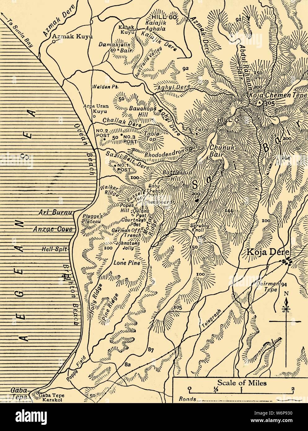 Schlachtfelder Des 2 Weltkriegs Karte.Karte Von Sari Bair Halbinsel Gallipoli Erster Weltkrieg