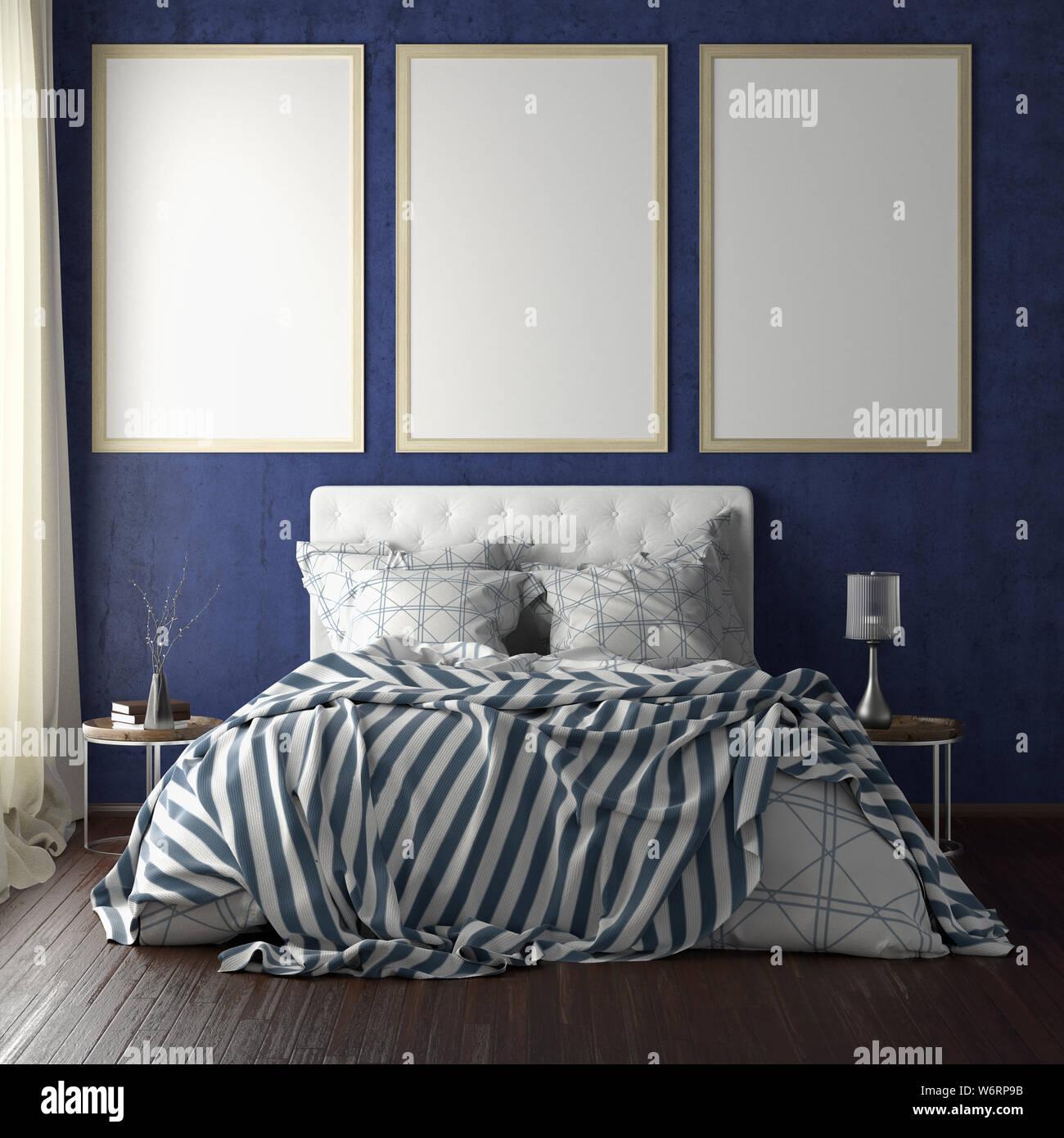 Drei vertikale Titelbild mockups über dem Bett auf der ...