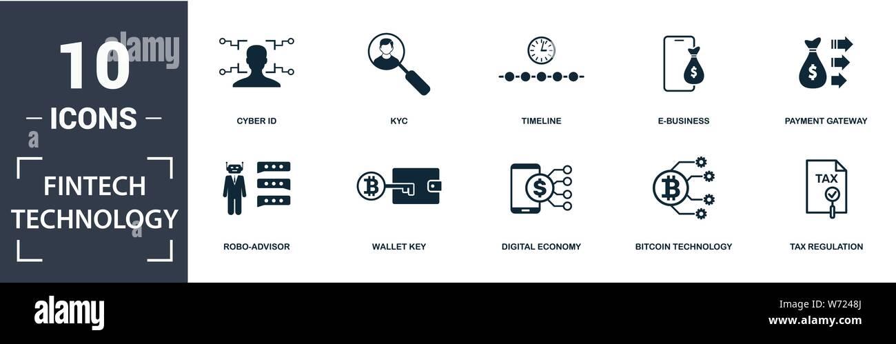 Fintech Technologie Icon Set. Gefüllt Flachbild robo-Berater, Steuer- Verordnung, Kyc, Payment Gateway, digitale Wirtschaft, e-business Icons. Bearbeitbar Stock Vektor