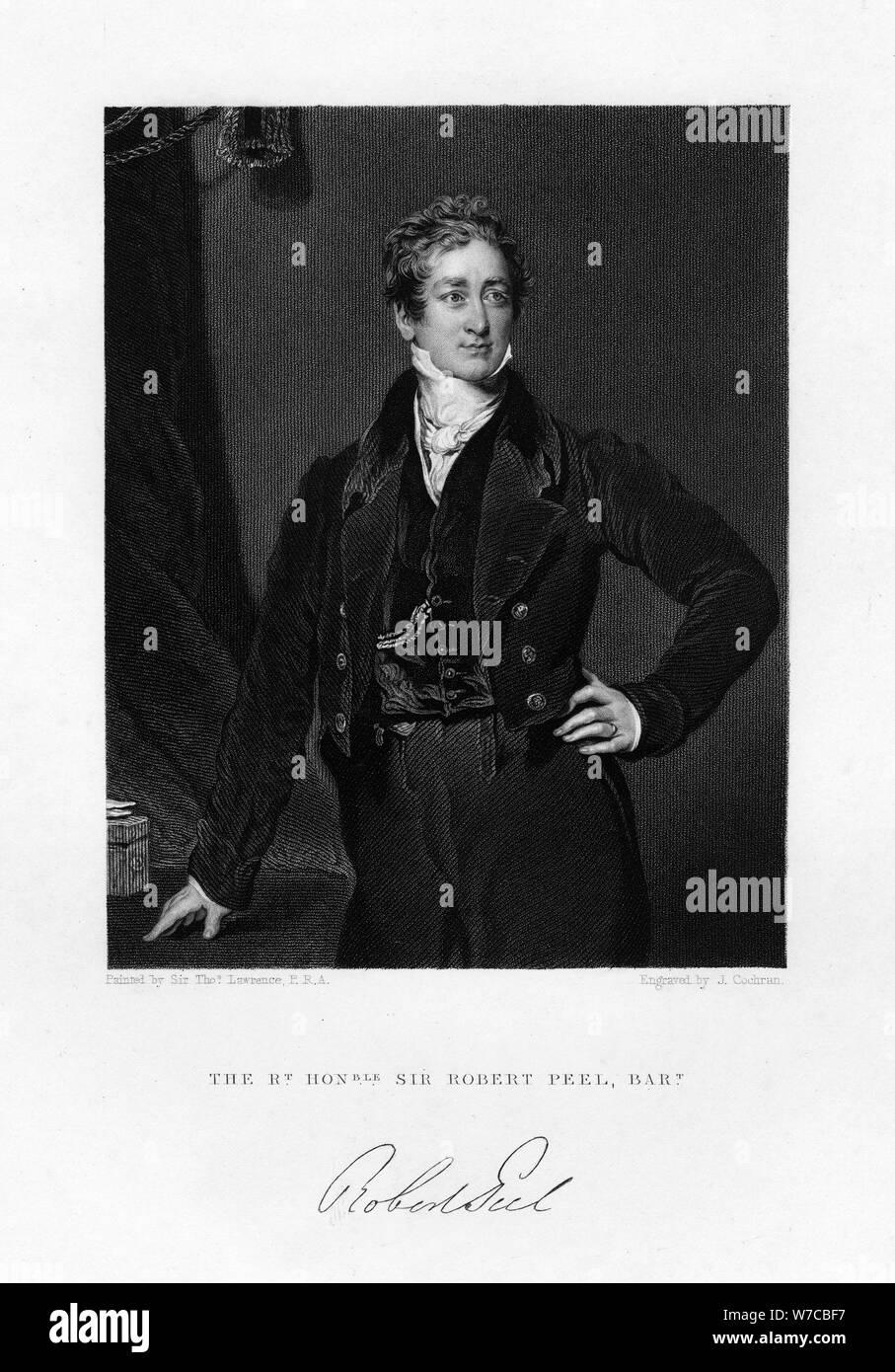 Sir Robert Peel, der britische Premierminister, 19. Artist: J Cochran Stockfoto
