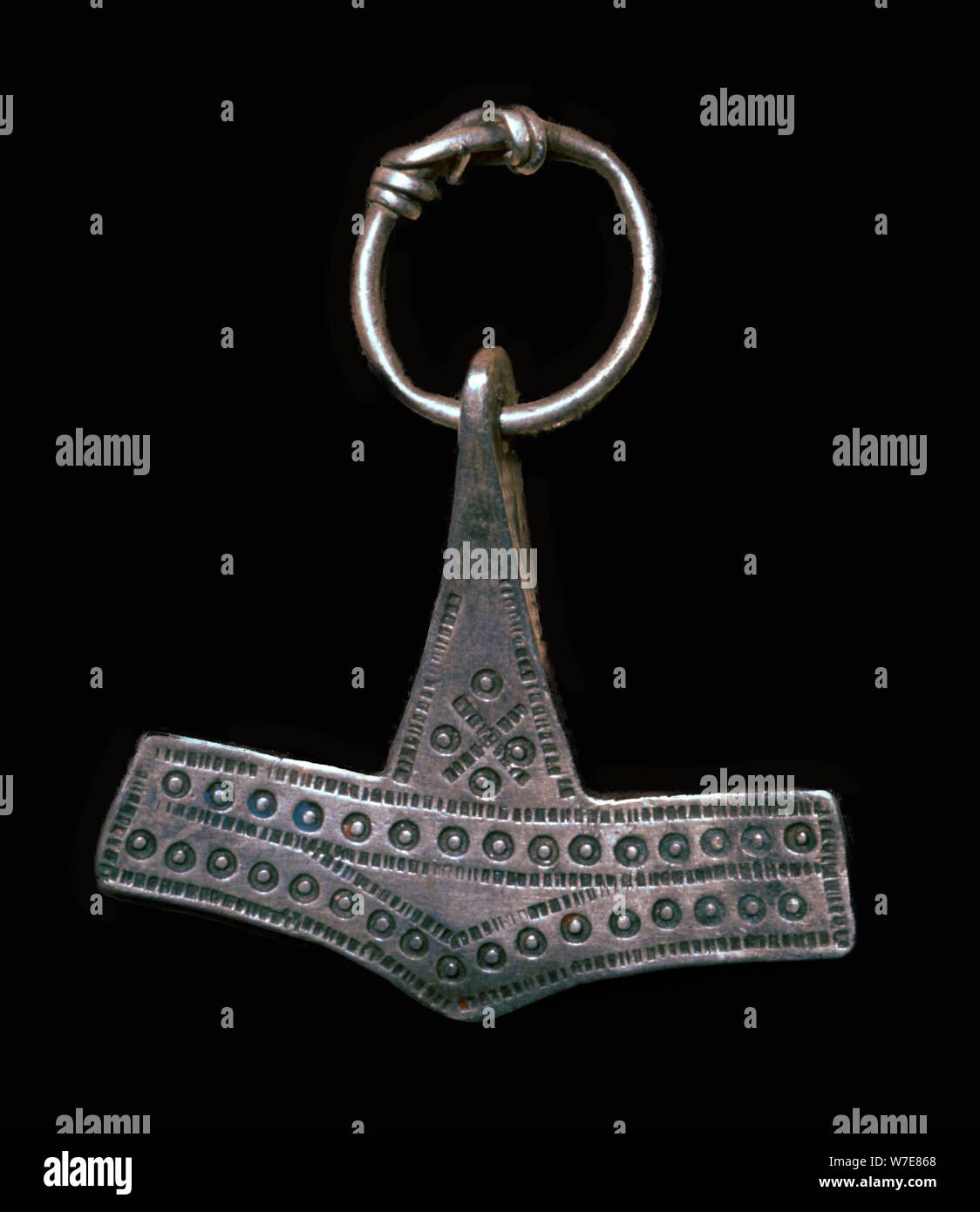 Silber Viking 'Thor's Hammer' Amulett, 9. Jahrhundert Künstler: Unbekannt Stockfoto