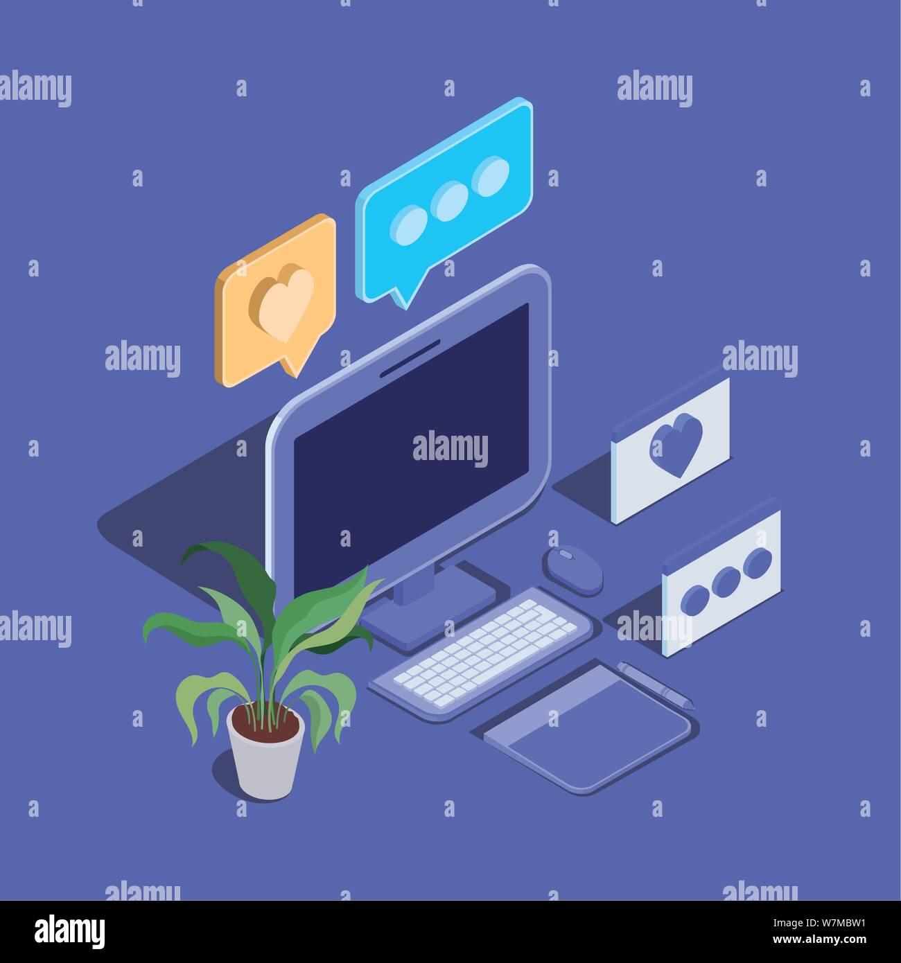 Desktop Computer Technology gerät Symbol Stock Vektor