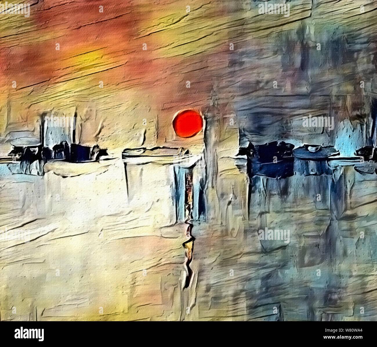 Moderne Abstrakte Malerei In Sumi E Stil Roter Sonnenuntergang