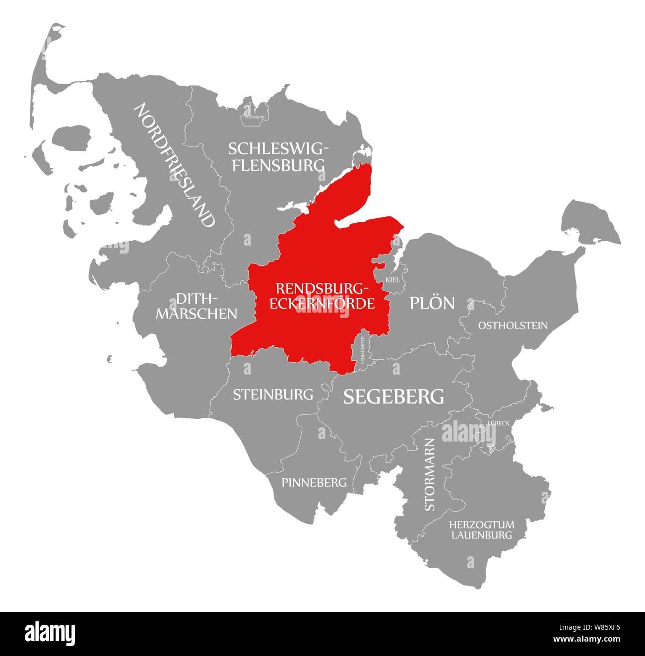 Rendsburg Eckernforde In Rot Hervorgehoben Karte Von Schleswig