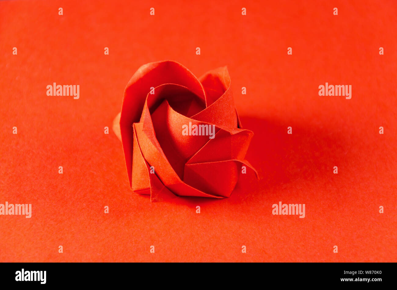 Red Origami Rose Auf Rotem Hintergrund Japanische Kunst Des Papierfaltens Flache Quadratische Blatt Papier In Eine Fertige Skulptur Durch Falten Ubertragen Stockfotografie Alamy