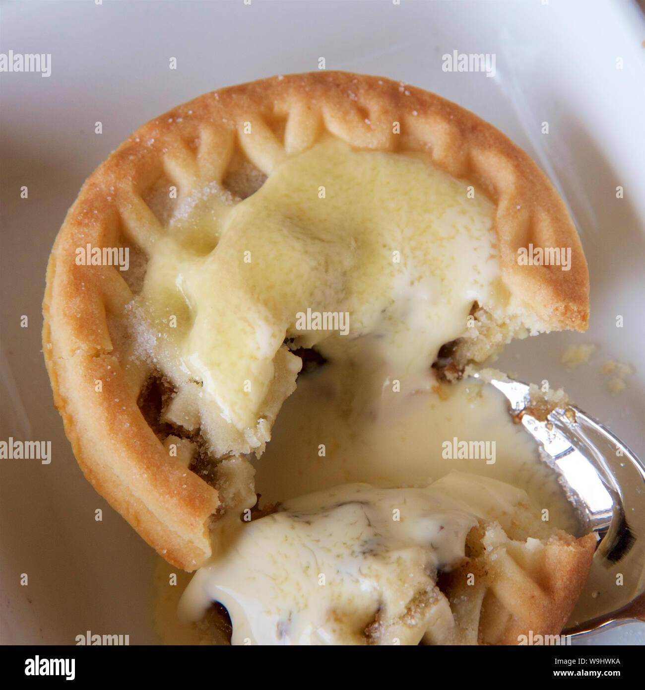 Mince tart in einem weißen Teller zu Weihnachten. Stockfoto