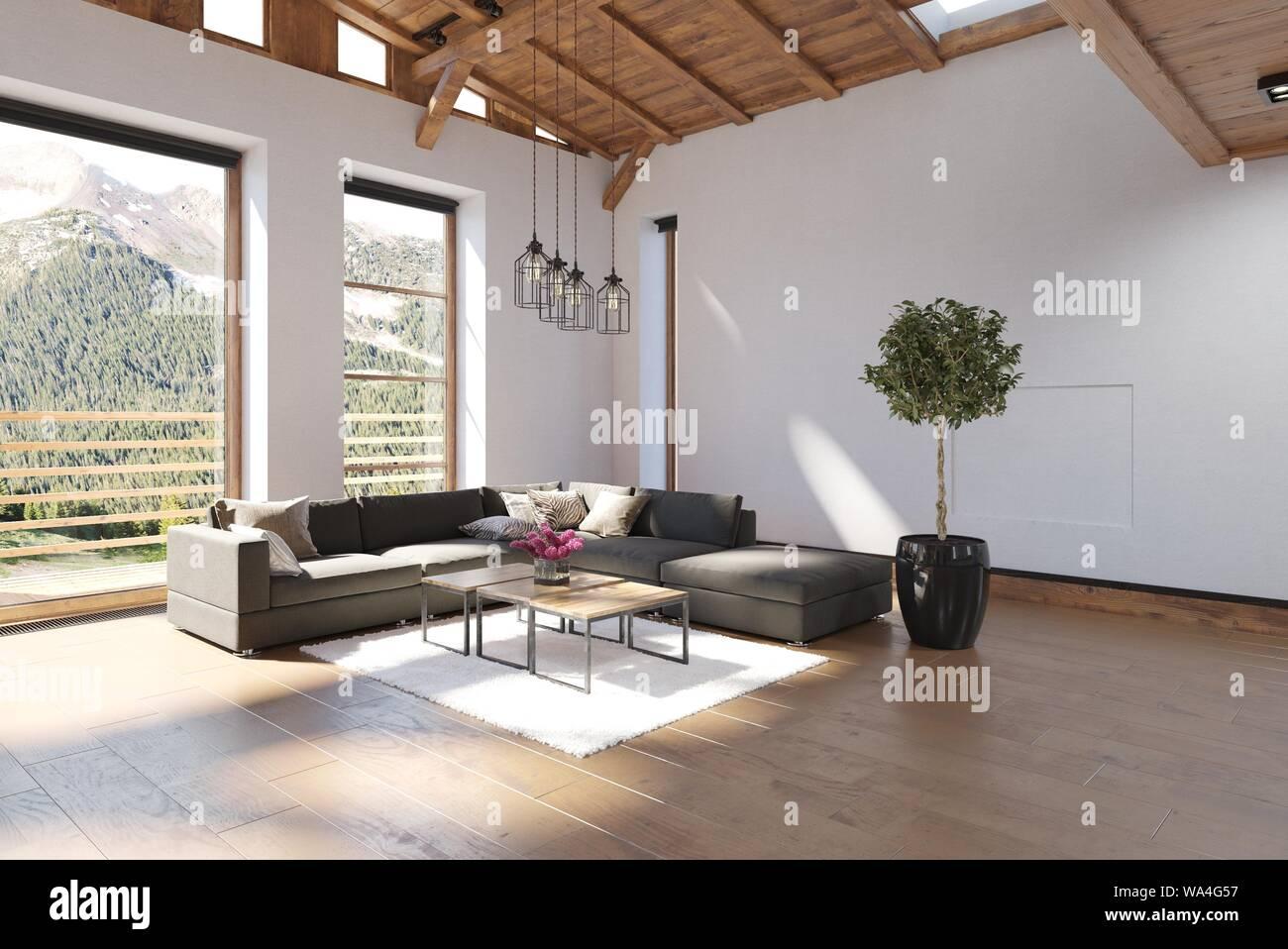 Helle Und Geraumige Moderne Luxus Wohnzimmer Mit Einem Volumen