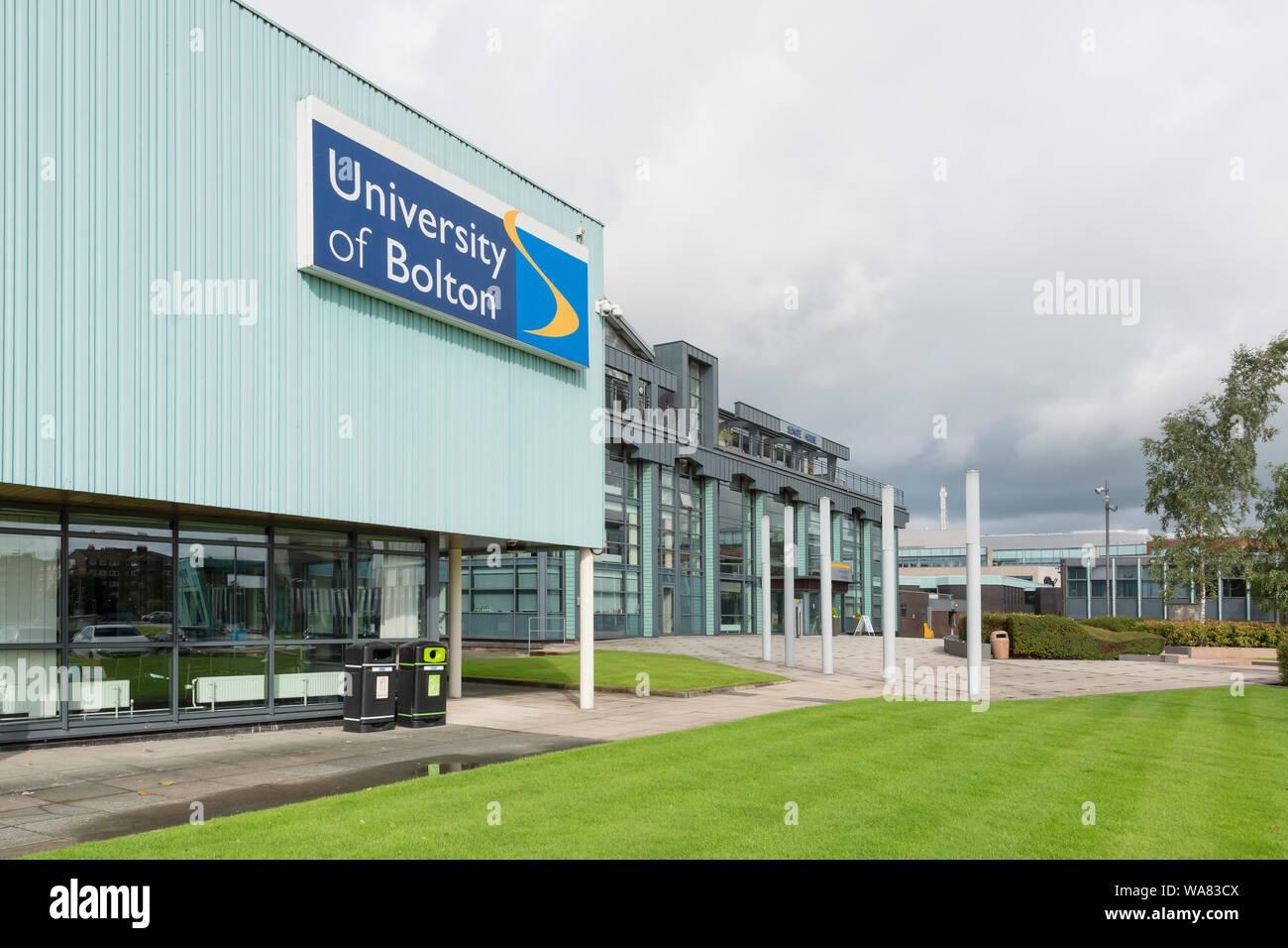 Beschilderungen für die Universität von Bolton (nur redaktionelle Nutzung). Stockfoto