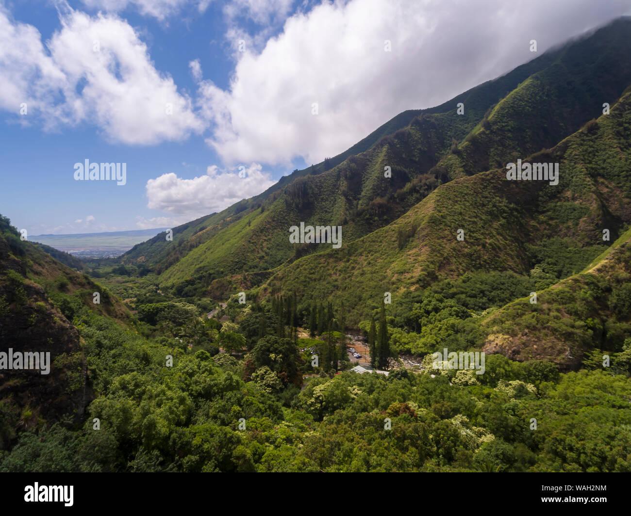 Luftaufnahme der Iao Valley State Park Maui Hawaii Stockfoto
