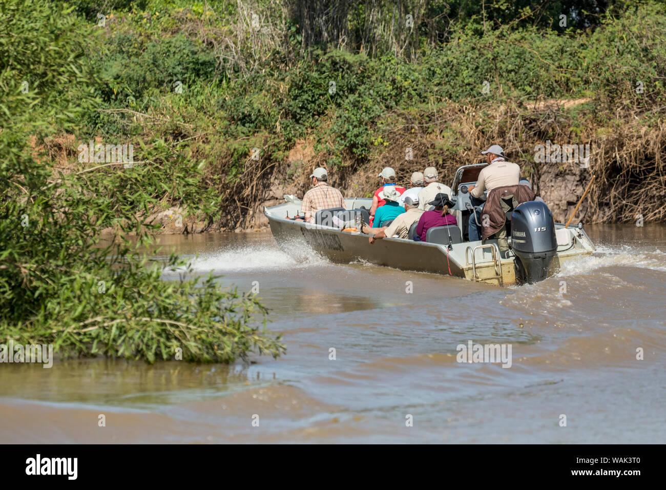 Pantanal, Mato Grosso, Brasilien. Tour Boat racing aus zu einem gemeldete Sichtung eines Jaguars. (Redaktionelle nur verwenden) Stockfoto