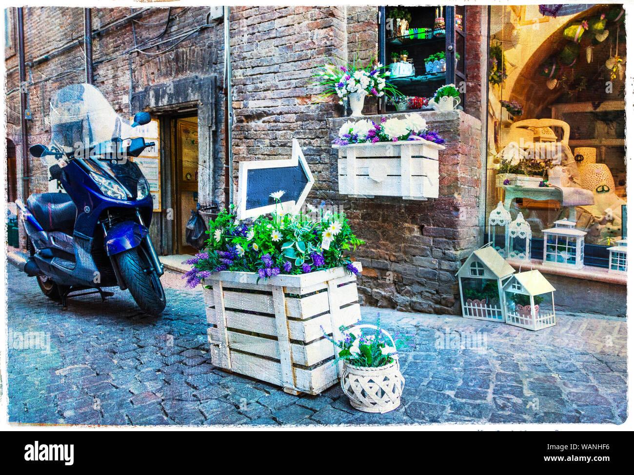 Alte Straßen der Stadt Urbino, Marken, Italien. Stockfoto