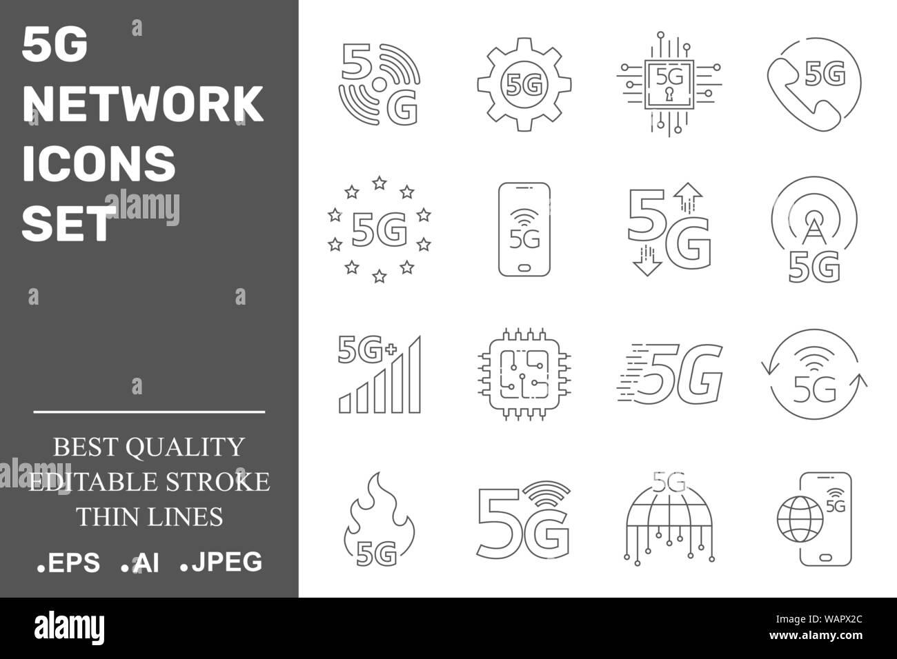 5G-Netzwerk Symbole gesetzt. 5G-Technologie. Editierbare Schlaganfall. EPS 10. Stock Vektor