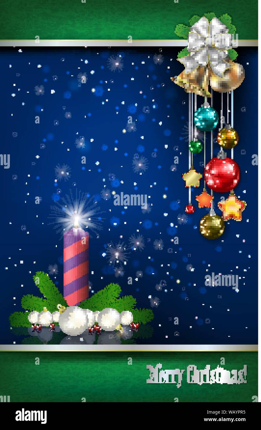 Abstrakt Blau Hintergrund mit Weihnachten Kerze und Dekorationen Stock Vektor