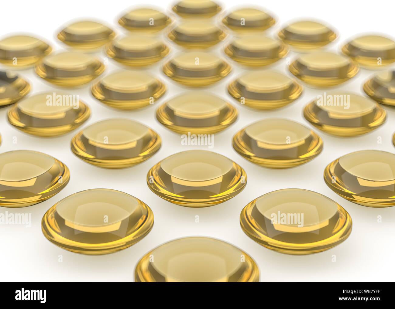 Glänzend Kapsel Llustration. Golden Image mit Reflexionen und Schatten. Kosmetische, pharmazeutische und medizinische Konzept. 3D-Rendering Stockfoto