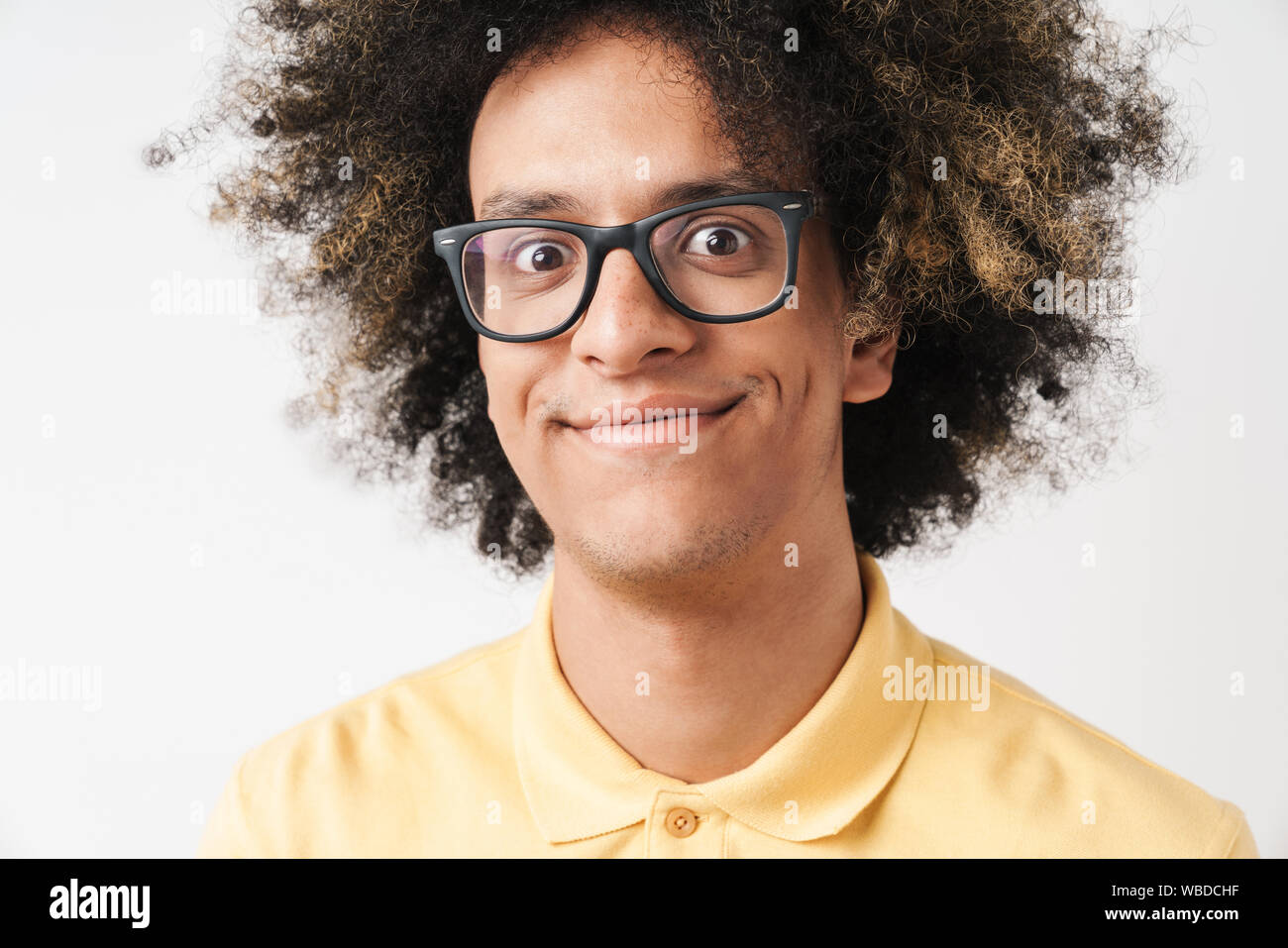 Foto Von Ihnen Kaukasischen Mann Mit Afro Frisur Tragen Von