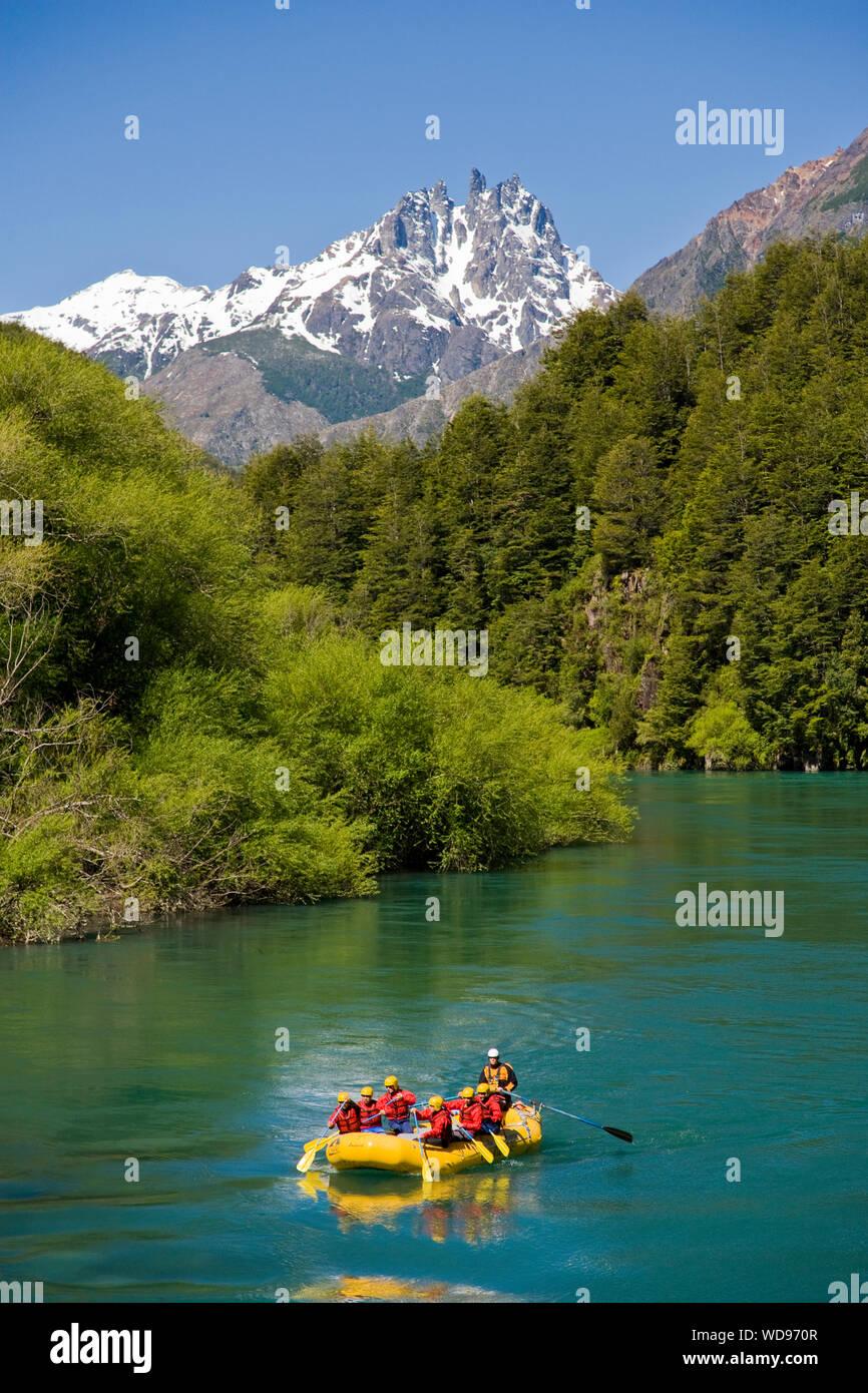 Rafting am fluss Futaleufu, Chile Stockfoto