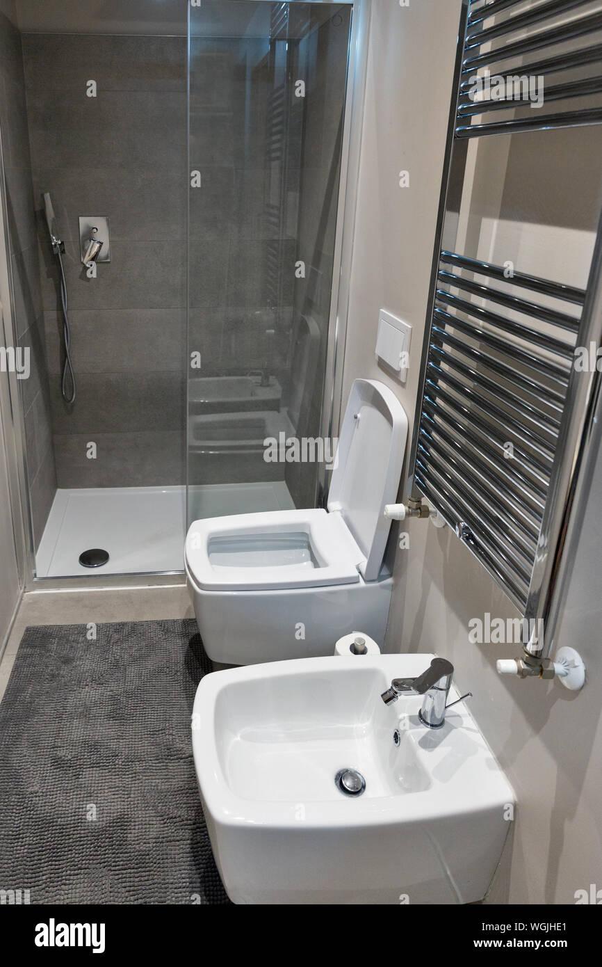 Modernes Kleines Bad.Modernes Hotel Kleines Bad Mit Toilette Und Bidet Closeup