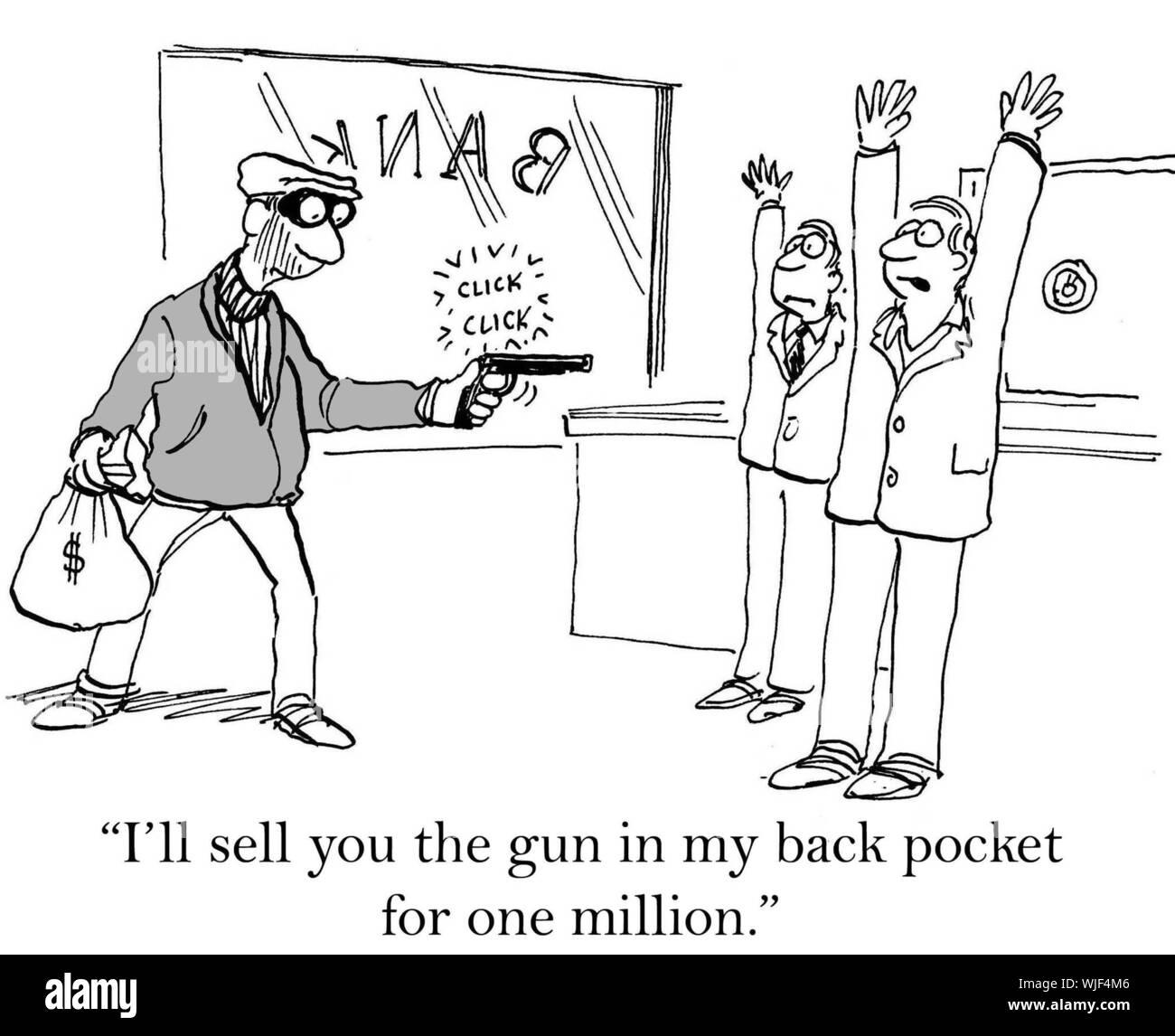 """""""Ich sie verkaufen die Pistole in meiner Tasche auf der Rückseite für eine Million."""" Stockfoto"""