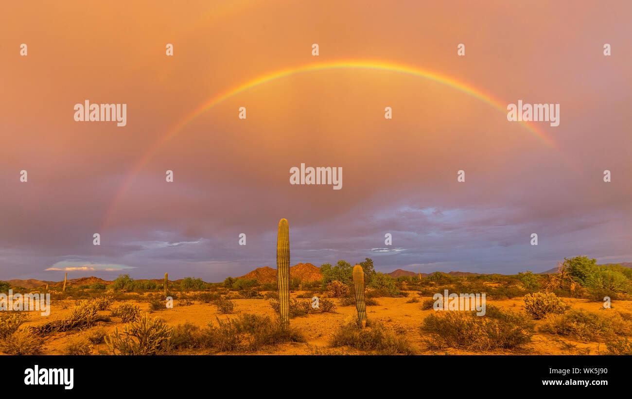 Malerische Aussicht auf Regenbogen über Landschaft gegen Himmel Stockfoto