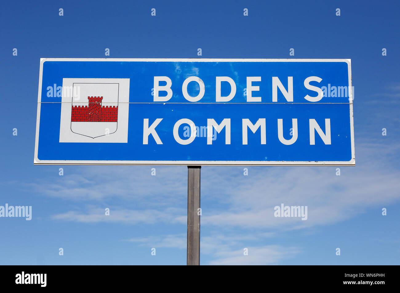 Boden, Schweden - 21 August, 2019: Der Boden Gemeinde Grenze Road Sign. Stockfoto