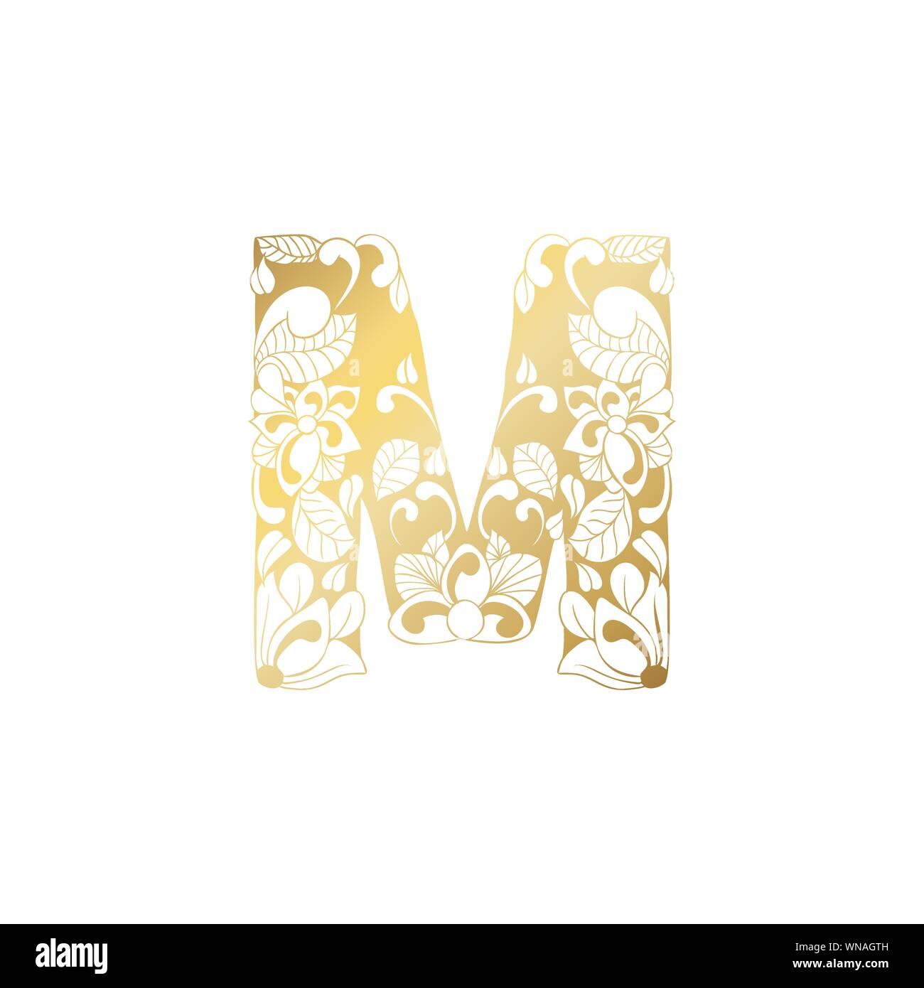 Goldene Blumen Zierpflanzen Alphabet Anfangsbuchstabe M