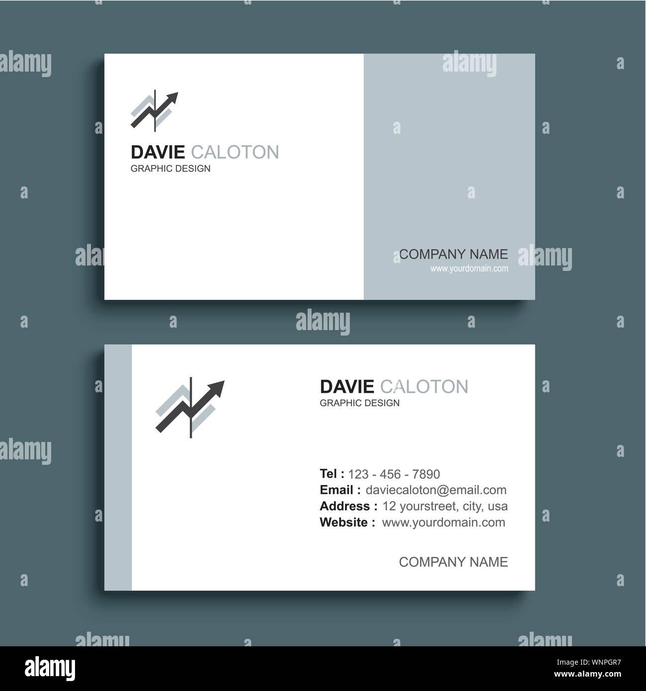 Minimale Visitenkarte Drucken Template Design Grau