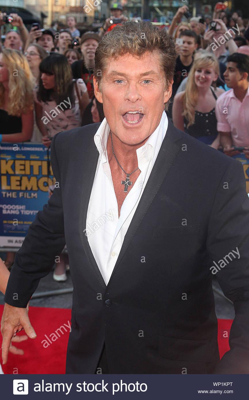 """London, Großbritannien - David Hasselhoff nimmt an der London Premiere von 'Keith Zitrone: Der Film"""", gehalten an der Vue West End. AKM-GSI 20. August 2012 Stockfoto"""