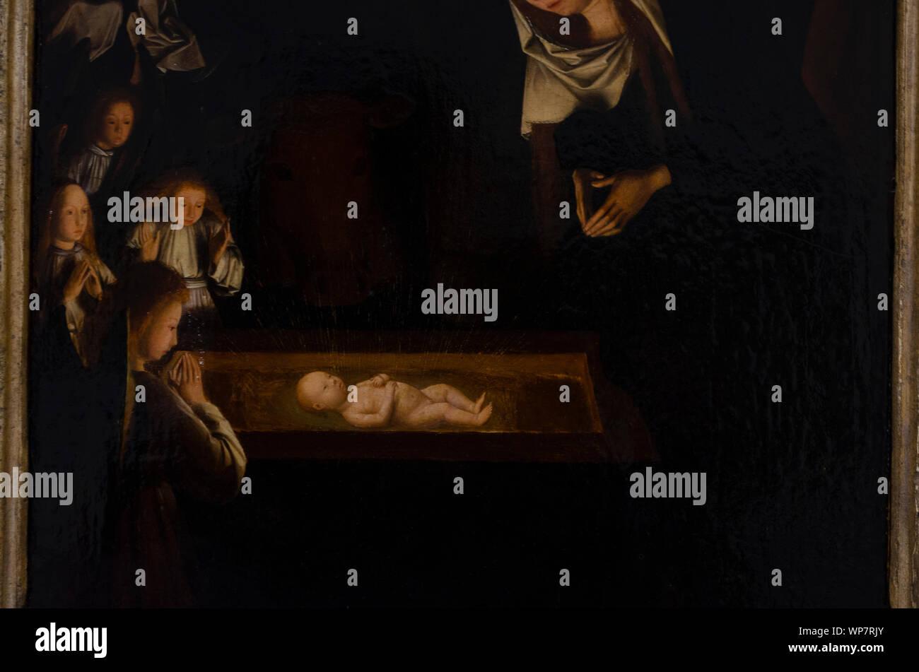 Geertgen Tot Sint Jans   Die Geburt bei Nacht Stockfoto